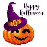 Cartoon halloween pumpkin wearing witch hat  Stock Images
