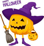 Cartoon Halloween pumpkin wearing witch hat. Vector illustration of cartoon Halloween pumpkin wearing witch hat Royalty Free Stock Images