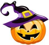 Cartoon halloween pumpkin witch hat Stock Image