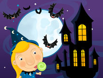 Cartoon halloween scene with bats castle amd wizard Stock Photos