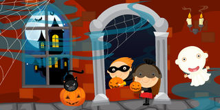 Cartoon halloween scene Stock Photos
