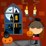 Cartoon halloween scene - black widow Royalty Free Stock Photography