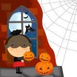 Cartoon halloween scene - black widow Stock Photography
