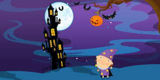 Cartoon halloween scene with character Royalty Free Stock Images