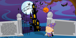 Cartoon halloween scene with character Royalty Free Stock Image