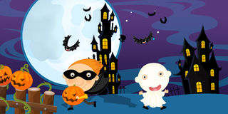 Cartoon halloween scene with characters Royalty Free Stock Photos