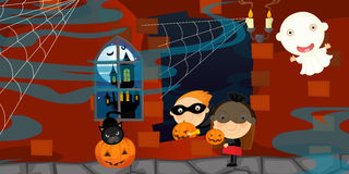 Cartoon halloween scene with characters Royalty Free Stock Image