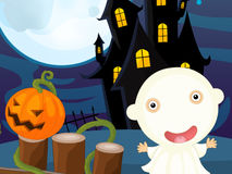 Cartoon halloween scene Stock Images