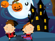 Cartoon halloween scene Stock Image