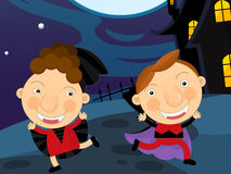 Cartoon halloween scene Royalty Free Stock Images
