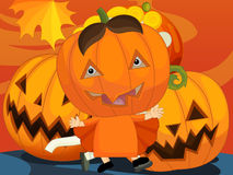 Cartoon halloween scene Stock Photography