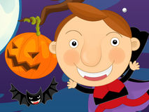 Cartoon halloween scene Royalty Free Stock Photo