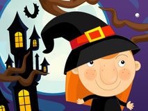 Cartoon halloween scene Royalty Free Stock Image