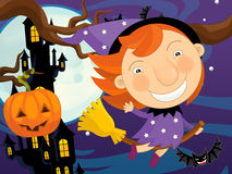 Cartoon halloween scene Stock Photo