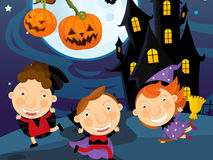 Cartoon halloween scene Royalty Free Stock Photos