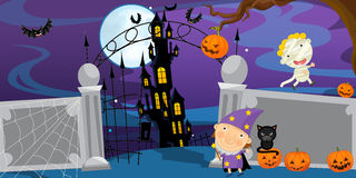 Cartoon halloween scene - illustration for the children Royalty Free Stock Photography