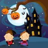 Cartoon halloween scene - kids Stock Image