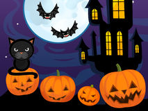 Cartoon halloween scene with pumpkin bats castle and cat Royalty Free Stock Image