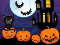 Cartoon halloween scene with pumpkin bats castle and cat Royalty Free Stock Image