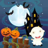 Cartoon halloween scene - pumpkin and ghost Stock Photography