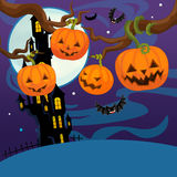 Cartoon halloween scene - pumpkins by night Stock Photos
