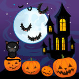Cartoon halloween scene - pumpkins by night Royalty Free Stock Photos