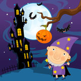 Cartoon halloween scene - sorcerer Royalty Free Stock Photography