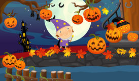 Cartoon halloween scene - with sorceress Stock Image