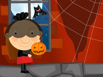 Cartoon halloween scene with widow Royalty Free Stock Images