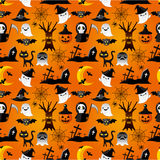 Cartoon Halloween seamless pattern Stock Photos
