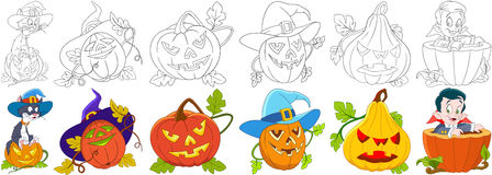 Cartoon halloween set. Cat in a hat sitting on gourd, four carving pumpkins with different emotions, little boy in a costume of vampire Dracula. Coloring book Royalty Free Stock Photo