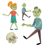 Cartoon halloween simple gradient vector icon set with zombies. Royalty Free Stock Photo