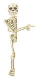Cartoon Halloween Skeleton Pointing. A cartoon skeleton character peeping round a Halloween banner or sign and pointing at its contents Stock Image