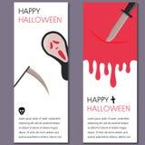 Cartoon Halloween vertical banner vector illustration