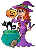 Cartoon Halloween witch with cat. Illustration Stock Photo