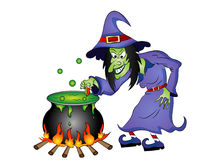 Cartoon Halloween Witch with Cauldron Stock Photography