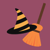 Cartoon halloween witch hat antasy scary witchcraft traditional costume magic object vector illustration. Wizard black cap holiday party spooky wear magical Stock Photography