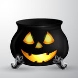 Cartoon Halloween witches cauldron. With Jack O Lantern eyes mouth and nouse  on white could be used for Halloween design Royalty Free Stock Photography
