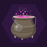 Cartoon halloween witches cauldron with pink bubbling cooking art magic pot and brew design holiday party potion vector. Illustration. Retro spell wicked horror Stock Image