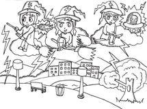 Cartoon Halloween witches vector illustration