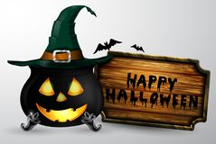 Cartoon Halloween witchs cauldron Royalty Free Stock Images