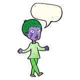 cartoon halloween zombie woman with speech bubble Stock Photography