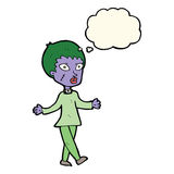 cartoon halloween zombie woman with thought bubble Royalty Free Stock Photography