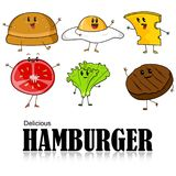 Cartoon of Hamburger Royalty Free Stock Photos