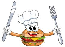 Cartoon hamburger character cook fork and knife isolated. On white Stock Photo