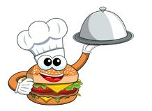 Cartoon hamburger character cook serving silver tray isolated. On white Royalty Free Stock Photo
