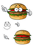 Cartoon hamburger character Royalty Free Stock Photography