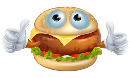 Cartoon hamburger character Stock Photography