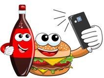 Cartoon hamburger coke bottle characters selfie smartphone. Cartoon hamburger coke bottle characters taking selfie smartphone stock illustration