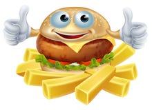 Cartoon hamburger and fries Stock Photo